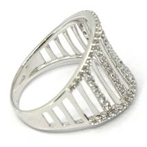 SOLID 18K WHITE GOLD BAND RING, MULTI WIRES, CUBIC ZIRCONIA, MADE IN ITALY image 3