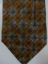 NEW $165 Ermenegildo Zegna Gray and Dark Gold Diamonds Tie Made in Italy - $46.79