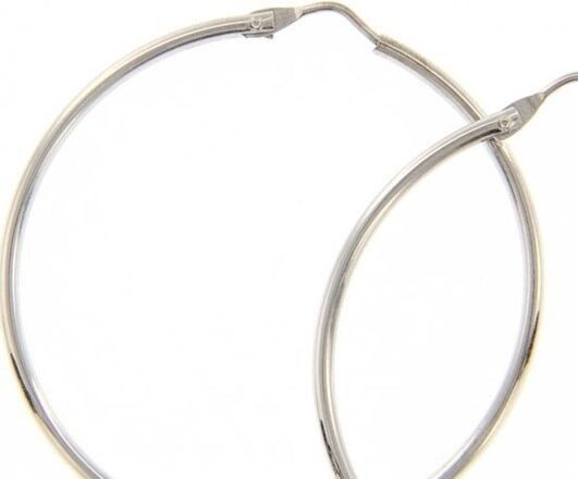 18K WHITE GOLD ROUND CIRCLE EARRINGS DIAMETER 35 MM WIDTH 1.7 MM, MADE IN ITALY