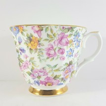 Crown Victorian Chintz Tea Cup 6 oz Floral Bone China Gold Trim - $5.36