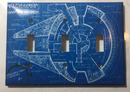 Star Wars Millennium Falcon Blueprint Switch Outlet wall Cover Plate Home Decor image 10