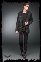 Men's Black Goth Punk Fall Winter Spring Jacket Slim Fit Light Stitching... - $86.59