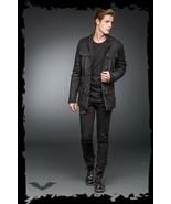 Men's Black Goth Punk Fall Winter Spring Jacket Slim Fit Light Stitching... - $86.59