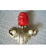 1950s Antique Egyptian Style Brooch Pin Detailed Unmarked Fashion Jewelry  - $89.05
