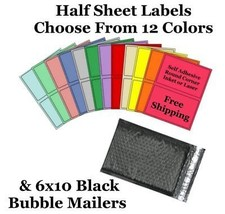 6x10 ( Black ) Poly Bubble Mailers + Half Sheet Self Adhesive Shipping L... - $1.99+