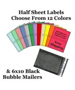 6x10 ( Black ) Poly Bubble Mailers + Half Sheet Self Adhesive Shipping L... - $2.99+