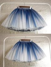 Women Girl Frozen Tutu Skirt Silver Blue Layered Puffy Tutu Skirt image 1
