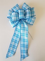 """2 Large 10"""" Hand Made Wired Teal Blue White Plaid Bows - Wreath Easter Summer - $11.63"""