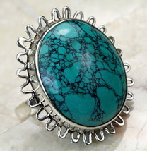 Cocktail RING STERLING SILVER .925 Turquoise Colored Setting size 6 - $29.65