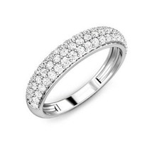 Christmas Special 0.41Ct Round Cut Diamonds Pave Set Half Eternity Ring - $450.00