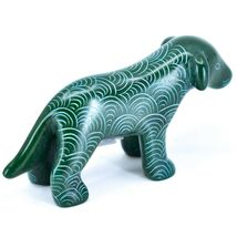 Tabaka Chigware Hand Carved Kisii Soapstone Green Standing Puppy Dog Figure image 3