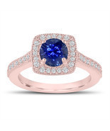 1.28 Carat Sapphire Engagement Ring, Wedding Ring 14K Rose Gold Halo Pave - €2.033,95 EUR