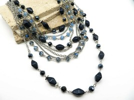 Erica Lyons Chunky Layered Silver Chain Blue Bead Statement Necklace R24 - $25.99