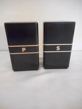 Vintage Art Deco Black Plastic Bakelite Salt & Pepper Set Mid Century Retro - £24.18 GBP