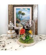 Floral Arrangement Preserved Real Flower Rose with Bird Figurine in Glas... - $54.95+