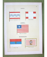 FLAGS Japan Liberia & Montenegro Prince's Standard - 1899 Color Litho Print - $9.45