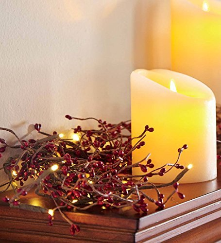 Plow & Hearth Battery Operated LED Lighted Artificial Pip Berry Holiday Garland,