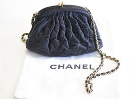 Chanel Black Vintage Quilted Satin Bag Gold Leather Lining 1996 - $1,435.50