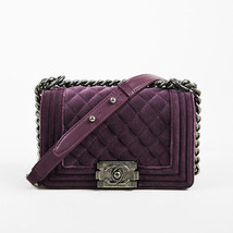 "Chanel 2013-2014 Purple Velvet & Leather Small Quilted ""Boy"" Flap Bag - $3,205.00"