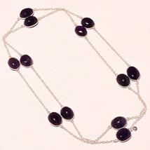 "African Amethyst Cab's Gemstone Handmade Fashion Jewelry Necklace 36"" UK... - $6.80"
