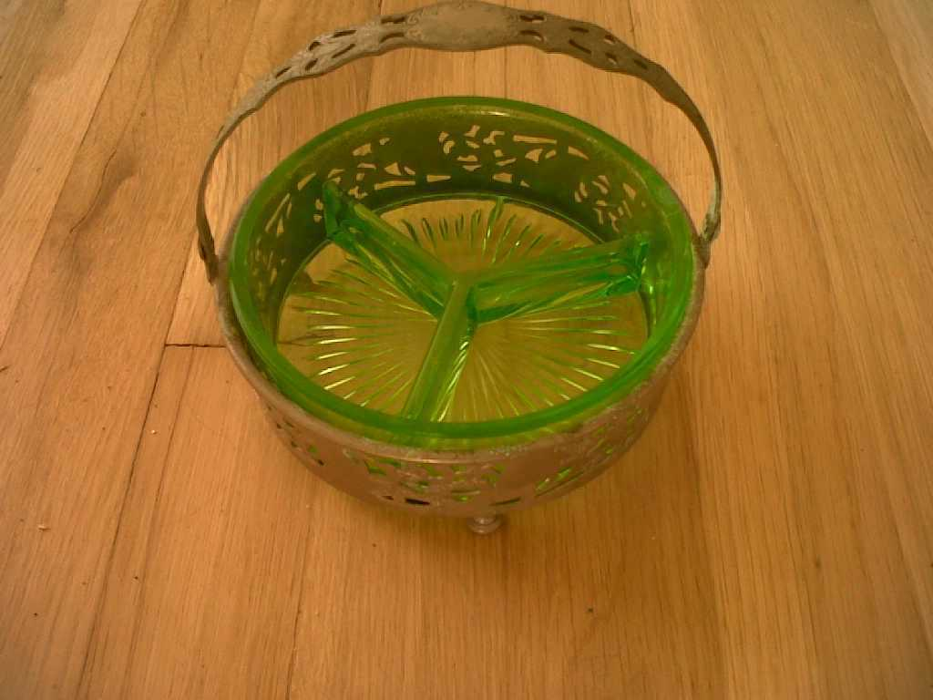 "Vaseline Glass Uranium Relish Server in Basket, 6"" wide"