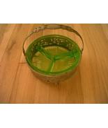 """Vaseline Glass Uranium Relish Server in Basket, 6"""" wide - $16.00"""