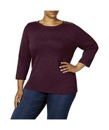 $49.50 Karen Scott Plus Size Cotton Zip-Shoulder Sweater, KS Merlot, 0X - $17.08