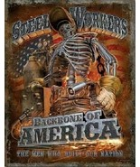 New Steel Workers Backbone of America Decorative Metal Tin Sign - $9.41