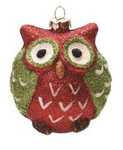 "3"" Red, Green and White Glittered Owl Decorative Christmas Ornament - $5.68"