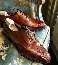 Men's Handmade Brown Color Oxford Leather Wing Tip Matching Sole Lace Up Shoes - $144.99+