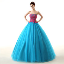 Cheap Strapless Ball Gown Long Prom Dresses Lace Formal Gown Quinceanera Dresses - $139.00