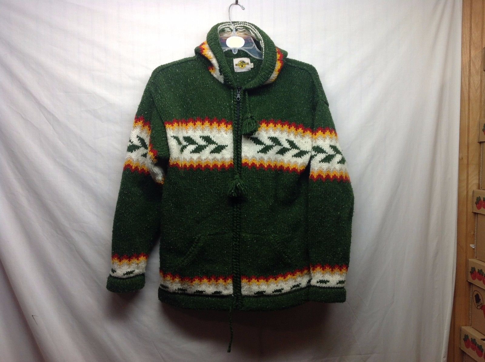 Earth Ragz Cool Hip Big Hooded Colorful Zip Up Knit Jacket Sz XL