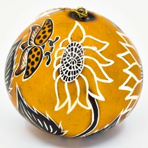 Handcrafted Carved Gourd Art Sunflower & Butterfly Floral Ornament Made in Peru