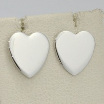 SOLID 18K WHITE GOLD EARRINGS FLAT HEART, SHINY, SMOOTH, 10 MM, MADE IN ITALY image 1