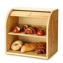 Bread Box, G.a HOMEFAVOR 2 Layer Bamboo Bread Boxes for Kitchen Food Sto... - $41.37