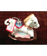 Holiday Time Christmas Ornament Rocking Horse Hand Painted Glass New - $10.84