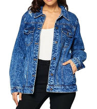 Women's Premium Casual Faded Distressed Denim Jean Button Up Cotton Jacket image 3