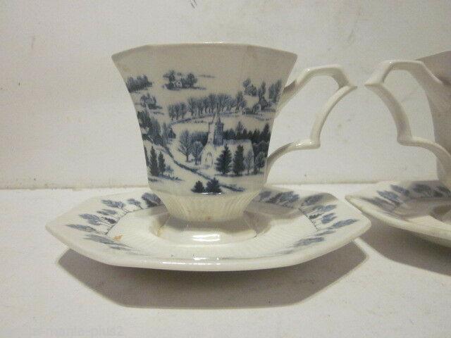 2 VINTAGE NIKKO BLUE & WHITE IRONSTONE TOWN WINTER SCENE TEA CUPS & SAUCERS #2