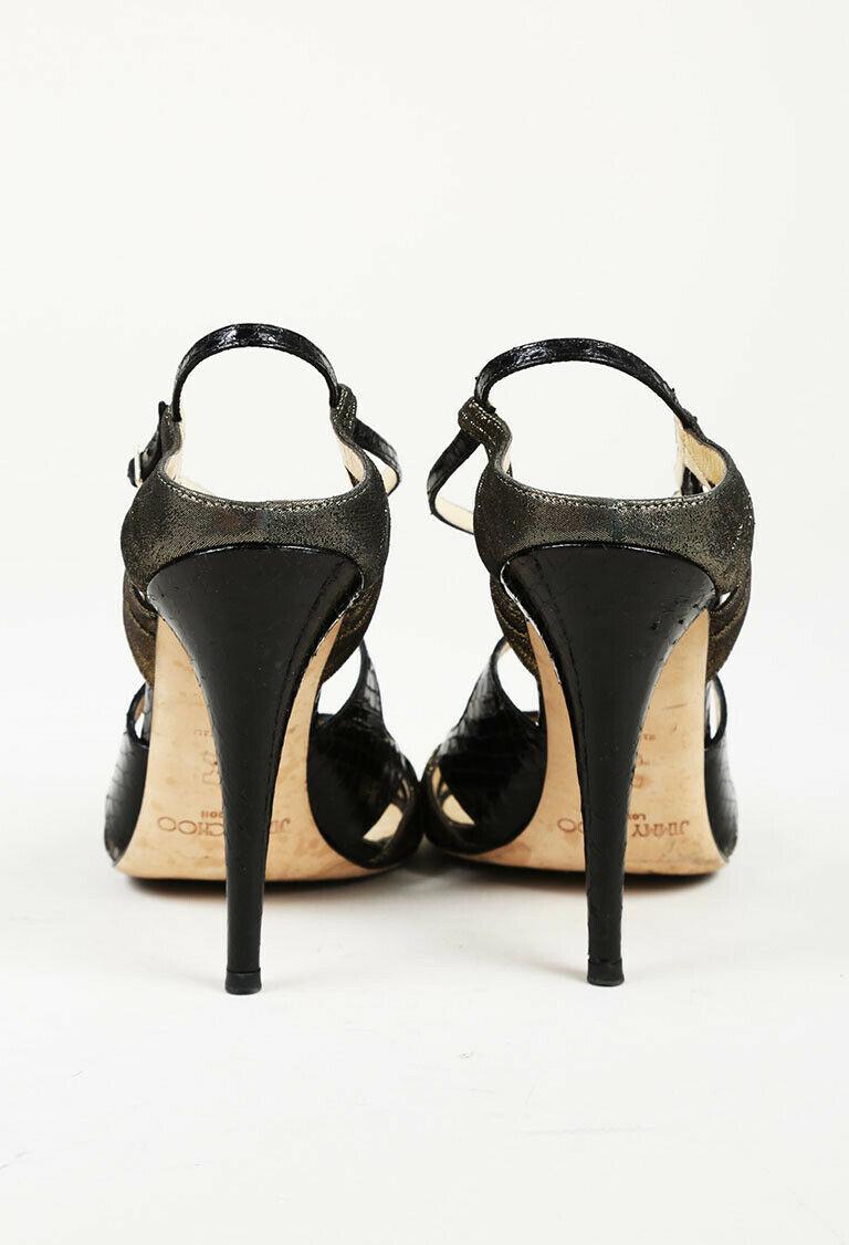 Jimmy Choo Snakeskin Leather Strappy Sandals SZ 38