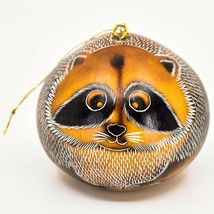 Handcrafted Carved Gourd Art Raccoon Forest Animal Ornament Made in Peru
