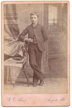 Cabinet Photo of Well Dressed Boy Standing - Late 1800s - Augusta, ILL. - $8.56