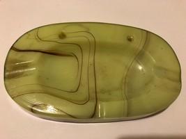 "VTG Old Green Akro Agate Glass Ashtray w Brown Swirl Base 7.5"" x 4.5"" - $19.75"