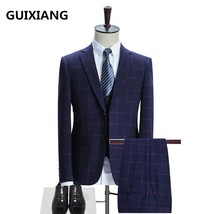 "(Jacket+Vest+Pants) 2017 suit men""s High quality Wool and cotton wedding... - $144.90"