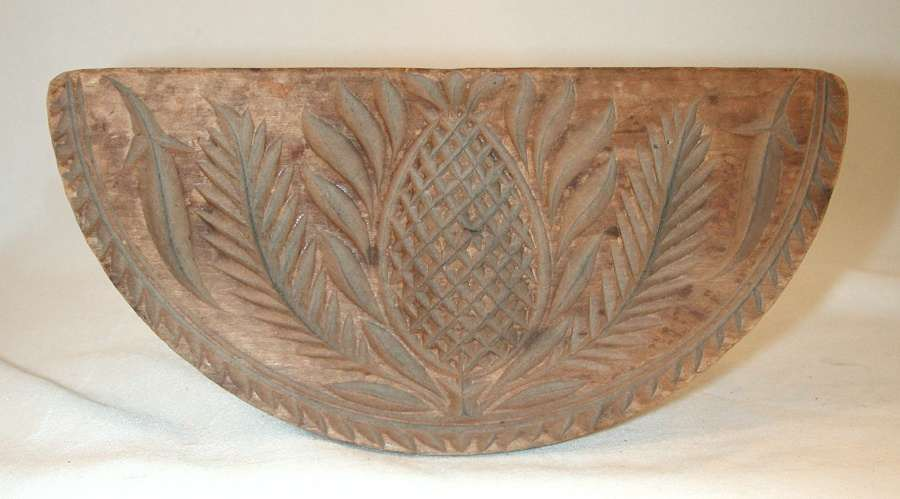 Antique Pennsylvania Carved Softwood Half-round Pineapple Design Butter Print