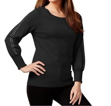 Alfani Womens Embellished-Sleeves Crewneck Pullover Sweater XS Deep Blac... - $10.70