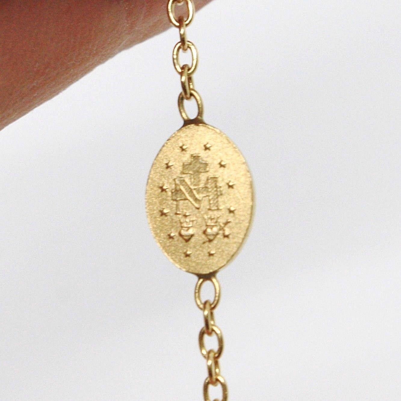 Pulsera Oro Amarillo 18K 750 , Rosario, Esferas 2.5 mm, Cruz, Medalla Milagrosa image 5