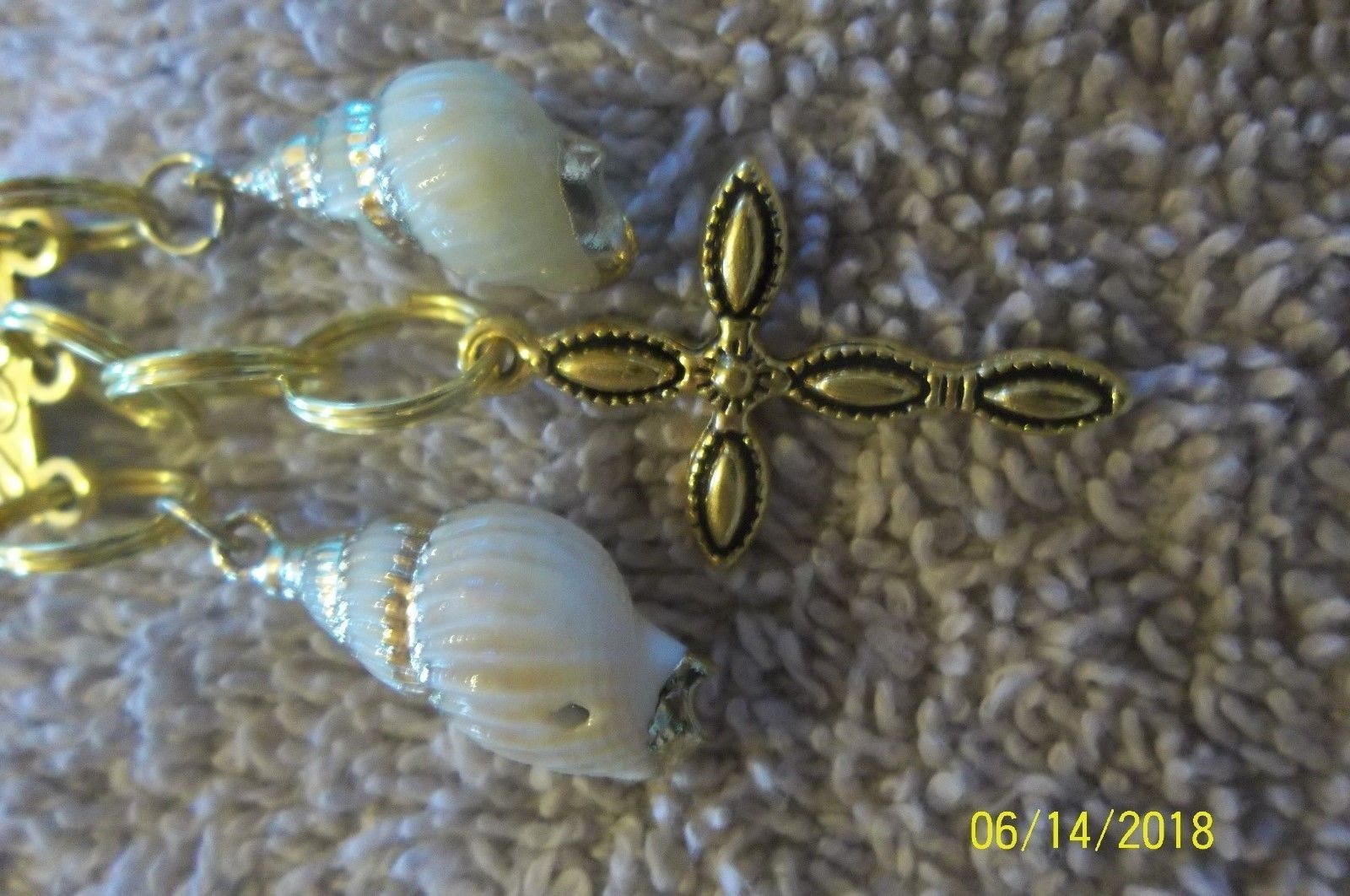 # purse jewelry gold color cross shell keychain backpack dangle charm #26 image 4