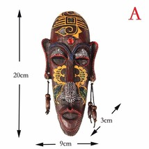 2 Pcs Zakka 3D Creative Resin African Masks Crafts Retro Home Gift Wall Decor - $39.89