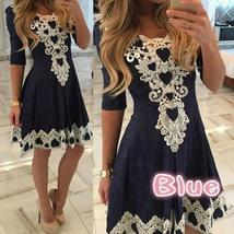 Women Fashion Sexy V Neck Vestidos A-line Solid Party Office Lace Dress ( please