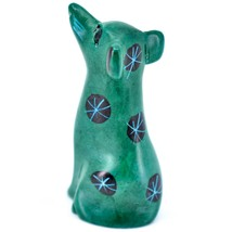 Tabaka Chigware Hand Carved Kisii Soapstone Green Puppy Dog Miniature Figurine image 2